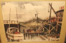 ROBERT CHASE FISHING BOAT DOCK ORIGINAL WATERCOLOR ON PAPER PAINTING