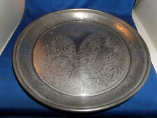 SUPERB KUT HING SWATOW CHINESE PEWTER ROUND TRAY C.1900