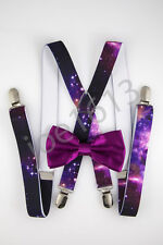 Blackberry Bow Tie Galaxy Suspender Combo Set Wedding SDBT033