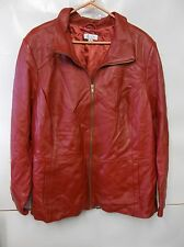 Denim & Co. Zip Front Lamb Leather Jacket with Pockets 3X A266895 RED  QVC $224