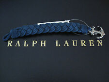 NEW RALPH LAUREN Polo Men's Braided Anchor Wristband Strap Bracelet Indigo Rope