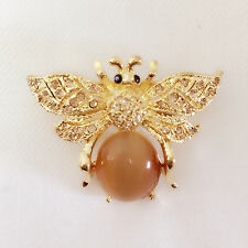 New Gold Plated Honey Bumble Bee Tigers Eye Stone Crystals Brooch Pin BR1177