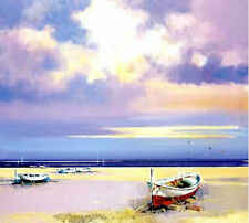 Modern Handmade Sea, beach, boat art Oil Painting Living Room Wall Deco H2048