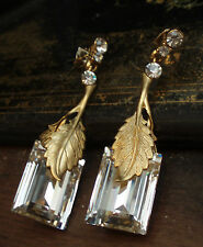 Elegant Vintage Deco Style Emerald Cut Crystal Drop Pierced Earrings