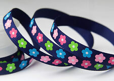 "3/8"" 9mm Flowers Ink Blue Printed Grosgrain Ribbon Craft Hairbow bow -10YARDS"