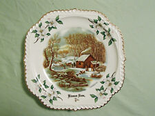 Vintage CURRIER AND IVES PLATE GOLD TRIM ''A HOME IN THE WILDERNESS''Kinzua Dam
