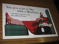 1961 Print Ad Marlboro Cigarettes Tattoo Man Relaxes in Chair & Smokes