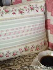 Pink Roses & Light Green Stripe Romantic Cottage Lumbar Pillow Sham