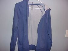 Women's long sleeve zip-up hoodie.Champion.Size M.Cotton blend. Blue.Solid
