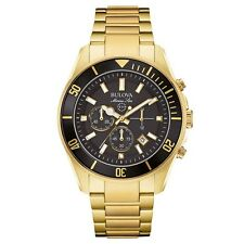 Bulova 98B250 Mens Marine Star Gold Plated Chronograph Watch