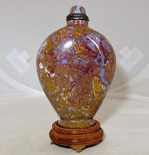 "3.25"" Chinese Oregon Moss Agate Stone Snuff Bottle with Metal Top & Wood Stand"