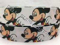 """1 METRE WHITE MICKEY MOUSE GROSGRAIN RIBBON 22MM 7/8"""" BOW CAKE CARD BIRTHDAY"""