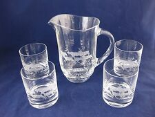 Crystal Barware Set SIGNED Elk Stag Deer Etched Pitcher 4 Old Fashioned Glasses