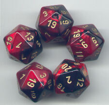NEW RPG Dice Set of 5 D20 - Chessex Gemini Black-Red