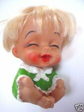 """3.5""""-VINTAGE KOREA UGLY SITTING DOLL-GREEN CLOTHES"""