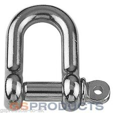 6mm Stainless Steel D Shackle Dee A4-AISI 316 1500kgs MBL FREE P+P