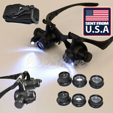 US Double Eye Jewelry Watch Repair Magnifier Loupe Glasses With LED Light 8 Lens