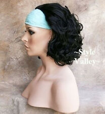Stunning Short  Curly Black 3/4  Fall  Hair Piece  Half Wig hairpiece color #1