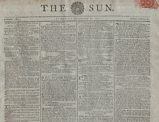 "RARE ORIGINAL NEWSPAPER ""THE SUN"" (2 September 1800) EXETER & CARLOW EXECUTIONS"