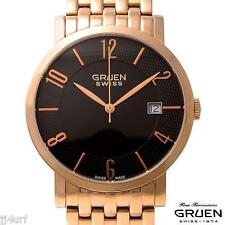 GRUEN GSS17-5 Rose Gold Tone StSl Men's Thin Watch, Swiss Made, Bracele, & Date
