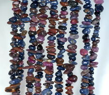 7MM-9MM NATURAL SAPPHIRE GEMSTONE MULTICOLOR PEBBLE CHIPS LOOSE BEADS 16""