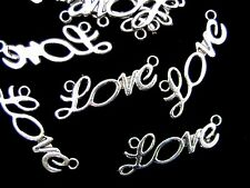 """10 Pcs - Tibetan Silver """" Love """" Connector Charms Jewellery Craft Beading Z19"""