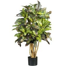 Nearly Natural 5182 3 Ft. Croton Silk Tree Green NEW