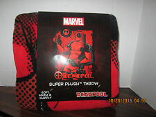 DEADPOOL COMIC THROW MICRO RASCHEL BLANKET 48 X 60 Marvel Comics NEW