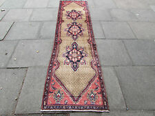 Old Traditional Hand Made Persian Rug Oriental Long Runner 280x71cm Brown Wool