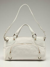 "Bally Camona Satchel or Shoulder Bag White Leather Gold Hdw XL 10"" by 17"" $1295"