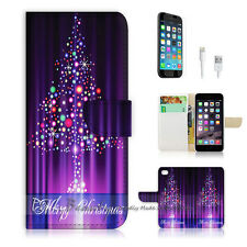 "iPhone 6 (4.7"") Print Flip Wallet Case Cover! Purple Christmas Tree P0002"