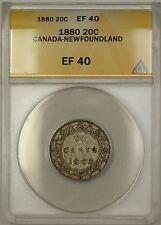 1880 Canada Newfoundland 20c Twenty Cents Silver Coin ANACS EF-40