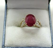 Beautiful 9ct Gold Large Ruby And Diamond Ladies Dress Ring