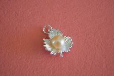 925 Sterling Silver Fall Leaf with Fresh Water Pearl Pendant - Peach (Natural)