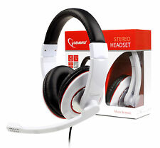 Over-Ear Stereo Headphones with Microphone Mic For PC Skype / 3.5mm jack / White