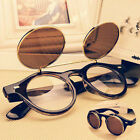 Steampunk Goth Goggles Glasses Retro Flip Up Round Sunglasses Vintage Brown 23HW