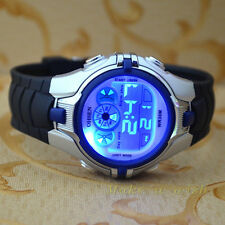OHSEN 7 Color Funny LED Light Sport Digital blue Boys Child Quartz Watch Watches