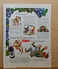 1951 magazine ad for Welch's Grape Juice - Billy the Kid of Grapevine Bunch tale