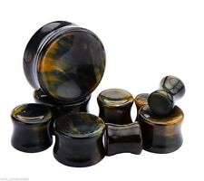 "PAIR-Stone Tiger Eye Blue Double Flare Plugs 14mm/9/16"" Gauge Body Jewelry"