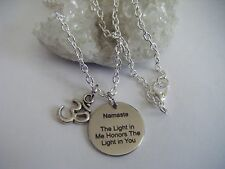 Spiritual Healing Necklace NAMASTE The Light in Me Honors The Light in You OM