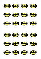 Batman Logo Edible Fairy Cup Cake Decoration Toppers Rice Paper x 24