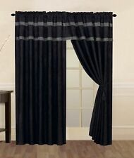 Black & Grey Micro Suede Window Curtain / Drape Set with Valance & Sheer Lining
