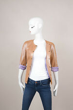 Jimin Lee Tan/Copper Metallic Leather Jacket SZ 44