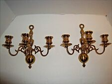 "Vintage Solid Brass Williamsburg Style Three Candle Sconces Set of 2- 9""x9"""