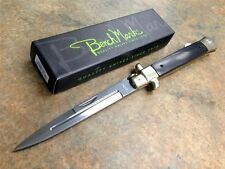 "10.75"" Stiletto Lockback Folding Knife Black Wood Handle NEW Fast Shipping!"