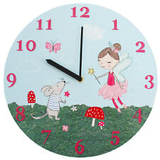 Fairy Wall Clock Children's Forest Fairies Round Kids Magical Quality Pink New