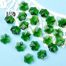 50 Green Crystal Prism Chandelier Decor Parts Faceted Snowflake Glass Beads 14mm