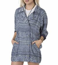 O'Neill MILLIE Womens Snap Front 100% Polyester Jacket Size Small Blue NEW 2017