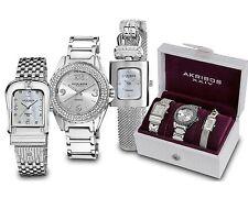 Akribos XXIV AK600SS Elegant Silver-Tone Diamond Bracelet Watch Set