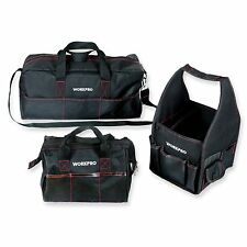 "WORKPRO 3PC Tool Bag Set Multi Function 8"" Square 12"" Wide-Open 19"" Tool Storage"